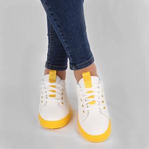 Pantofi sport Iris Galben Neon - Pantofi sport din material textil cu talpă galbenă si un calapod comod - Deppo.ro