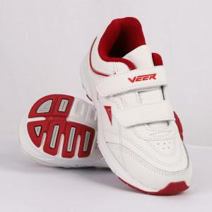 Pantofi sport pentru băieți cod 90232 Albi cu roșu