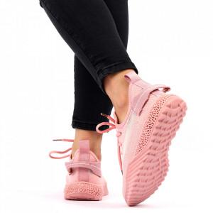 Pantofi Sport pentru dame Cod 1653SM Pink - Pantofi sport pentru dame dinpanză  Talpă din spumă  Foarte ușori și comozi  Închidere prin șiret - Deppo.ro