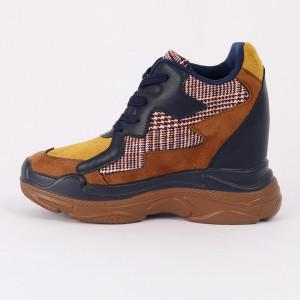 Pantofi Sport pentru dame Cod FR-8081 Navy Camel - Pantofi sport cu platformă pentru dame  Foarte comfortabili - Deppo.ro