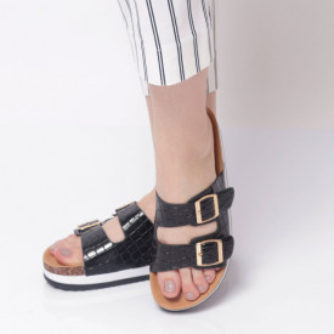 Papuci Damă din piele ecologica cod AG-001 Black