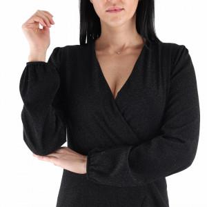 Rochie Juliana Black - Rochie elegantă stralucitoare, pune-ți silueta în evidență și atrage toate privirile, rochie conică, din material elastic cu fir lurex, fronșeul din talie îți pune în valoare formele, iar aspectul asimetric petrecut de la baza rochiei aduce un aer inedit ținutei. - Deppo.ro