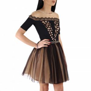 Rochie Madeline Champagne - Rochie elegantă cu material decorat cu paiete, pune-ți silueta în evidență și atrage toate privirile - Deppo.ro
