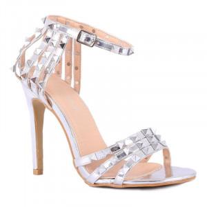 Sandale cod HF780 Arginti - Sandale elegante din piele ecologică lacuită - Deppo.ro