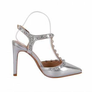 Sandale cod HH3 Arginti - Sandale cu toc elegante din piele ecologică lacuită - Deppo.ro