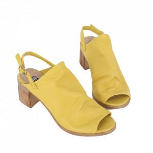 Sandale din piele naturală cod 051 Yellow - Sandale pentru dame din piele naturală  Închidere prin baretă - Deppo.ro