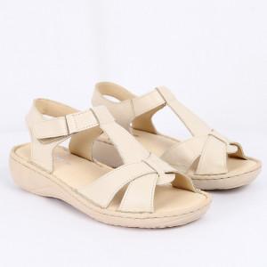 Sandale pentru dame din piele naturală cod 090 Bej - Sandale pentru dama din piele naturală Închidere prin scai Calapod comod - Deppo.ro