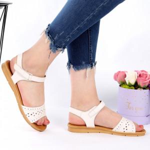 Sandale pentru dame din piele naturală cod 163513 White