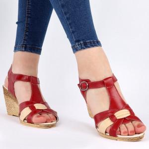Sandale pentru dame din piele naturală cod 169307 Red