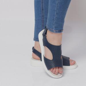 Sandale pentru dame din piele naturală cod PL-2018 Navy