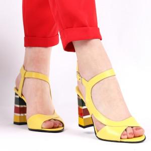 Sandale pentru dame din piele naturală cod S22 Galben
