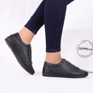 Pantofi din piele naturală cod 115740 Bleumarin