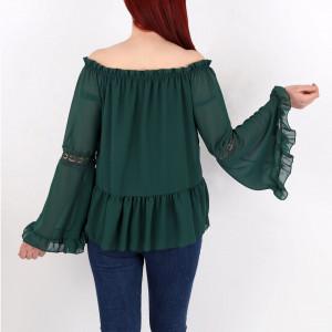 Bluză Heidi Green - Creeaza-ti propriul stil…fa-l sa fie unicpentru tine, dar identificabilpentru altii Bluză elegantă, model pe umeri, Inserții de broderie! - Deppo.ro