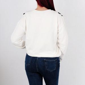 Bluză Maryjane White - Bluză pentru dame cu mânecă lungă Un model deosebit cu paiete! Comodă, dar chic - Deppo.ro