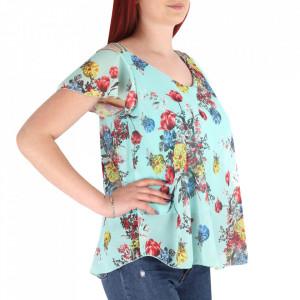 Bluză pentru dame cod 6445 Verde - Bluză pentru dame Model decorativ floral - Deppo.ro
