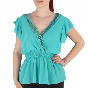 Bluză pentru dame tip cămășuță cod 1938 Turcoaz
