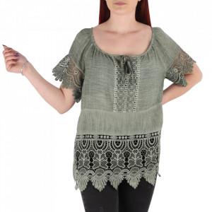 Bluză pentru dame tip cămășuță cod 91071 Green