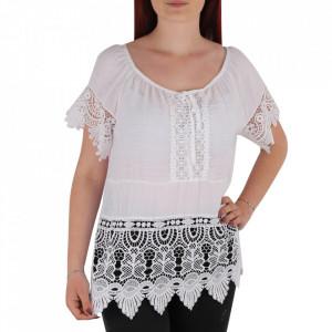 Bluză pentru dame tip cămășuță cod 91071 White