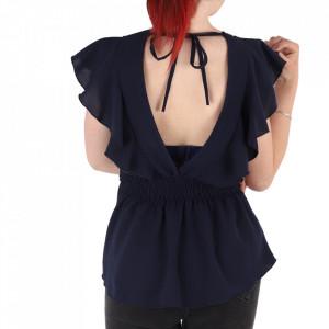 Bluză pentru dame tip cămășuță cod ZBB1 Navy - Bluză tip cămășuță pentru dame  Model decorativ cu dantelă și volănașe  Spate gol cu prindere cu șnur în partea de sus - Deppo.ro