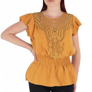 Bluză tip cămășuță pentru dame cod BP98 Muștariu