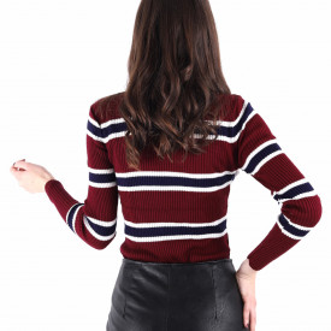 Bluză Tresa Bordo - Bluză pentru dame clasică cu mânecă lungă și decor în dungi dintr-un material confortabil perfectă pentru sezonul rece - Deppo.ro