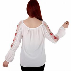 Bluziță tip iie tradițională Claudia - Bluziță tip ie cu motive florale lungă, un design tradițional care poate fii purtată atât cu o pereche de pantaloni lungi cât și la o fustiță - Deppo.ro