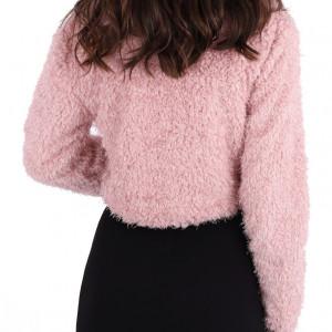 Bolero Lorry Pink - Bolero scurt cu căptușeală din țesătură cu aspect satinat, mânecă lungă și închidere cu broșă - Deppo.ro