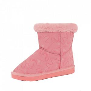 Cizme pentru fete cod N223 Pink - Cizme din piele ecologică de înaltă calitate cu înterior îmblănit, foarte confortabil cu un calapod comod - Deppo.ro