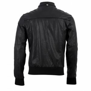 Geacă din piele ecologică pentru bărbați cod A101 Neagră - Geacă din piele ecologică pentru bărbați model primăvară-toamnă pe negru - Deppo.ro