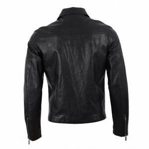 Geacă din piele ecologică pentru bărbați cod TG-2599 Neagră - Geacă din piele ecologică pentru bărbați model primăvară-toamnă pe negru - Deppo.ro