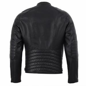 Geacă din piele ecologică pentru bărbați cod XH-88088 Neagră - Geacă din piele ecologică pentru bărbați model primăvară-toamnă pe negru - Deppo.ro