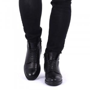 Ghete din piele naturală cod 211 Negre - Ghete din piele naturală cu interior îmblănit și inchidere cu șiret și fermoar - Deppo.ro