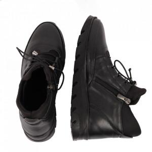 Ghete din piele naturală pentru dame cod 2008 Black - Ghete din piele naturală Interior cu căptușeală Închidere prin fermoar - Deppo.ro