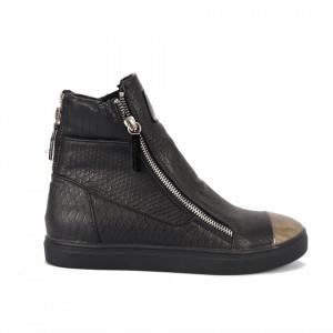 Ghete pentru dame cod STY-D Negre - Ghete din piele ecologică cu vârf rotund și decorațiuni metalice - Deppo.ro