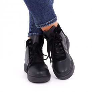 Ghete pentru dame cod YKQ16301 Negre - Ghete sport pentru dame din piele ecologică cu închidere prin șiret - Deppo.ro