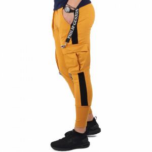 Pantaloni sport-casual pentru bărbați cod PSG6987 Galbeni
