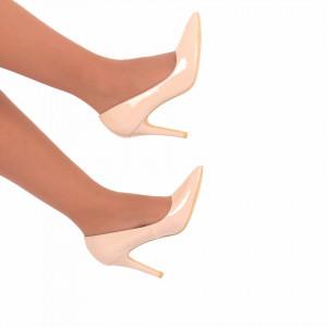 Pantofi Cu Toc Adeline Bej - Pantofi cu toc din piele ecologică foarte confortabili cu un calapod comod - Deppo.ro