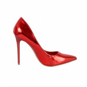 Pantofi cu toc cod 9827319 Roșii - Pantofi roşii cu vârf ascuţit şi toc subţire din piele ecologică, foarte confortabili cu un calapod comod - Deppo.ro