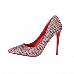 Pantofi cu toc cod 982736 Roși - Pantofi roşii cu vârf ascuţit şi toc subţire din piele ecologică, foarte confortabili cu un calapod comod - Deppo.ro