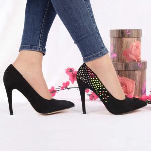 Pantofi cu toc cod A259 Negri