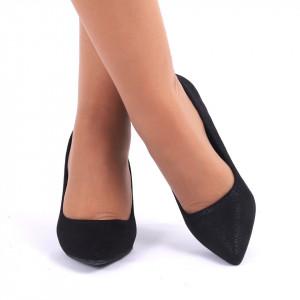 Pantofi cu toc cod C45 Negri - Pantofi cu vârf ascuţit şi toc subţire din piele ecologică, foarte confortabili cu un calapod comod - Deppo.ro