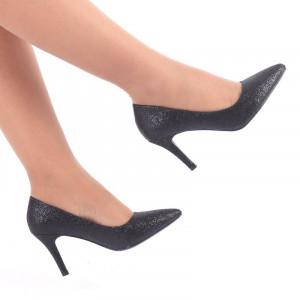 Pantofi cu toc cod CC57 Negri - Pantofi din piele ecologică cu vârf ascuțit foarte confortabili cu un calapod comod - Deppo.ro