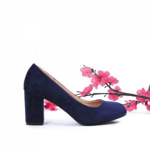 Pantofi cu toc cod EK0008 Navy - Pantofi cu toc din piele ecologică cu un design unic, fii în pas cu moda şi străluceşte la următoarea petrecere. - Deppo.ro