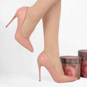 Pantofi cu toc cod EK0015 Roz - Pantofi cu toc din piele ecologică cu un design unic. Fii în pas cu moda şi străluceşte la următoarea petrecere. - Deppo.ro