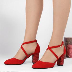Pantofi cu toc cod NA46 Roși