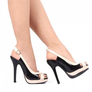 Pantofi cu toc cod SA1712 Negri - Sandale pentru dama din piele ecologică Închidere prin baretă Calapod comod - Deppo.ro