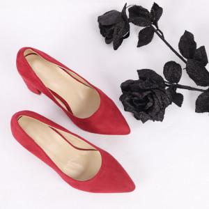 Pantofi cu toc cod SA1778B Wine - Pantofi cu toc gros și vârf ascuțit din piele ecologică întoarsă, foarte confortabili potriviți pentru birou sau evenimente speciale. - Deppo.ro