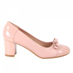 Pantofi cu toc din piele ecologică cod C-98 Champagne