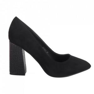 Pantofi cu toc din piele ecologică cod OD0264 Black