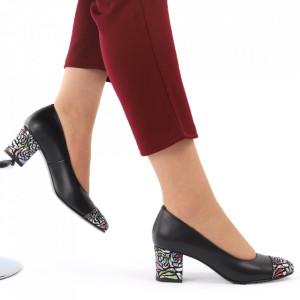 Pantofi cu toc din piele naturală cod 04 NIMP